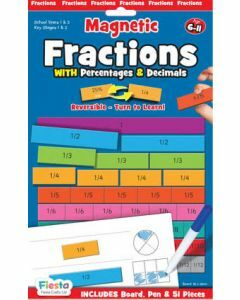 Magnetic Fractions with Percentages & Decimals Ages 6-11 (Board, Pen & 51 Pieces)