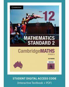 CambridgeMATHS Stage 6 Mathematics Standard 2 Year 12 interactive textbook (Access Code)