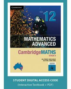 [Pre-order] CambridgeMATHS Mathematics Advanced Year 12 interactive textbook (Access Code) [Due late Aug 2019]