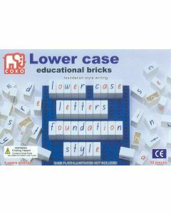 Coko Learning Bricks: Coloured Lower Case Letters 50 pc set foundation script (Ages 4+)