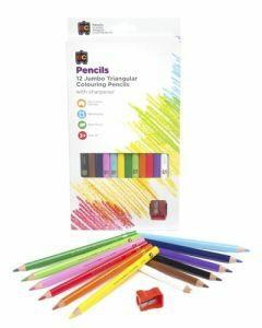 Jumbo Triangular Washable Pencils 12pc & Sharpener (Ages 3+)