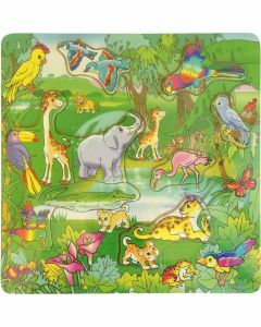 Jungle Animals (9 inches square) Wooden Puzzle