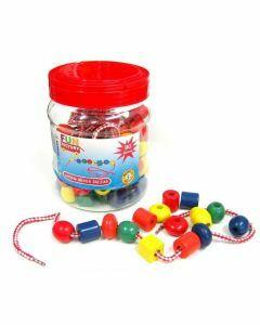Lacing Beads in Jar
