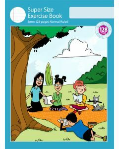 Super Size Exercise Book 8mm 128pp Normal Ruled