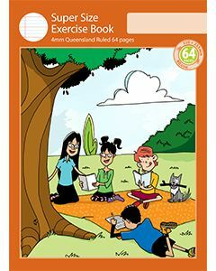 Super Size Exercise Book 4mm Queensland Ruled 64pp