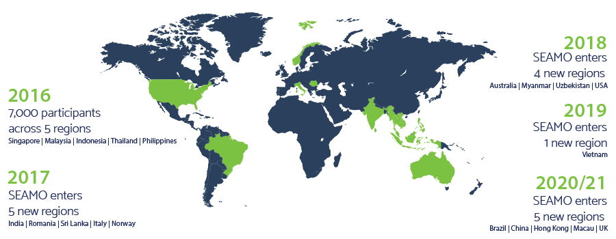 Map showing countries participating in SEAMO.